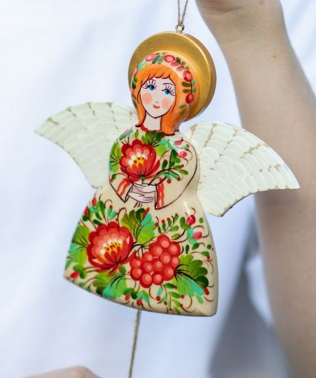 Angel jumping jack wooden toy, creative wall decoration for children room