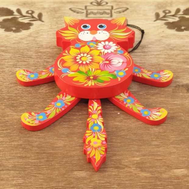 Cat shaped jumping jack toy, wall decoration for children room, handmade