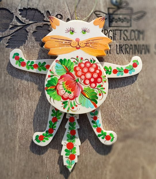 Cat jumping jack toy, wall ornament for children room, handmade