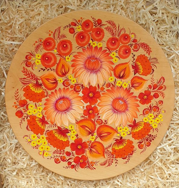 "Wall plate to hang, deco ""Flowers"", traditional ukrainian Petykivka painting"