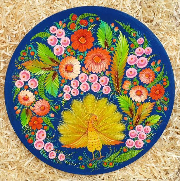 "Hanging plate, wall decoration ""Peacock, traditional ukrainian art"