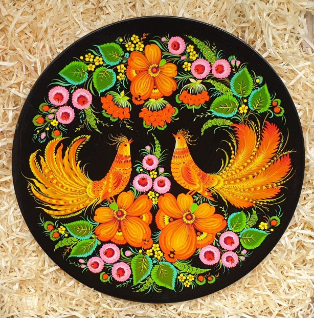 """Wall plate deco for the home """"Love"""", ukrainian hand painting"""