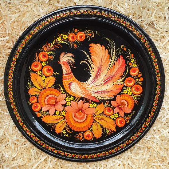 """Hand painted wooden plate, rustic wall decoration """"The bird on black"""", ukrainian Petykivka painting"""
