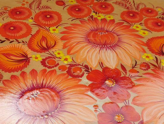"""Wandteller Deco aus Holz """"Blumen"""", ukrainische Handarbeit"""