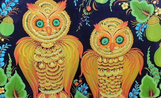 """Hand painted wooden plate, rustic wall decoration """"Owls with acorns"""", ukrainian Petykivka painting"""