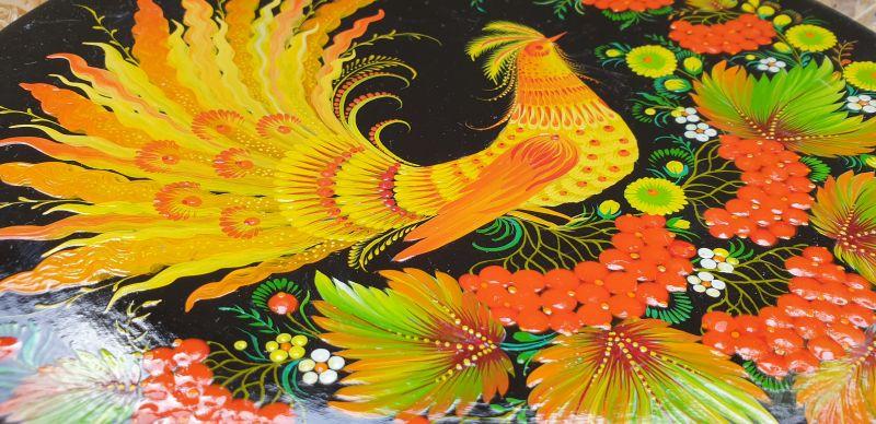 "Hand painted wooden plate, traditional wall decoration ""Firebird"", ukrainian Petykivka painting"