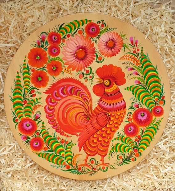 """Wandteller Deco aus Holz """"Der Hahn"""", ukrainische Handarbeit"""