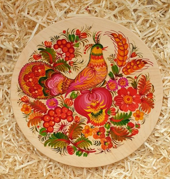 "Wall plate deco ""Bird"", ukrainian Petrykivka style"