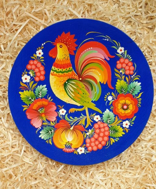 """Hand painted wooden plate, traditional wall decoration """"Rooster"""", ukrainian Petykivka painting"""