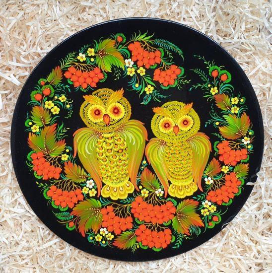 Wall plate Owls, traditional ukrainian Petykivka painting
