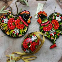 Beautiful Easter ornaments traditional hand painted on wood with flowers patterns