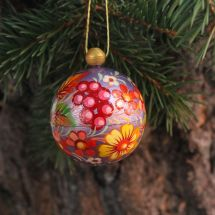 Hand painted pink Christmas ball with flowers- 5.5cm