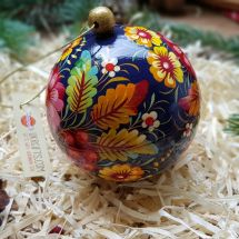 Christmas tree ball with flowers hand painted (10)