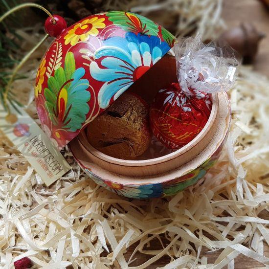 Rote Weihnachtskugeln, die sich öffnen lassen, Set mit 3 St. (8-7- 5.5 cm)