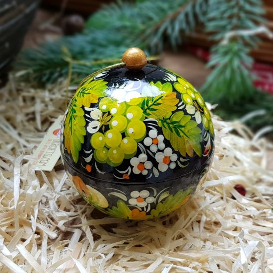 Hand painted Christmas tree ball and box for small presents, made of wood, Petrykivka painting, 8 cm