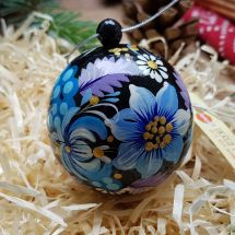 Hand painted woodenChristmas ball and box with Petrykivka painting, 7 cm