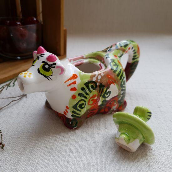 Kleines Milchkännchen Kuh aus Keramik von Hand bemalt
