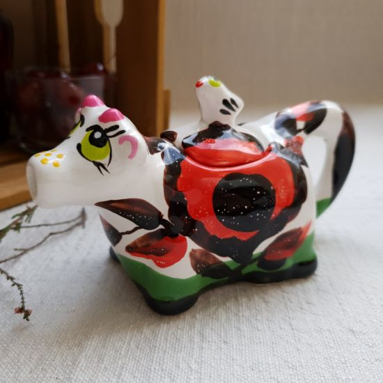 Small ceramic milk jug, hand painted