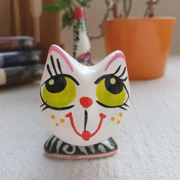 Katze-figur handbemalte Keramik, langer lustiger Kater mit Abstractmuster