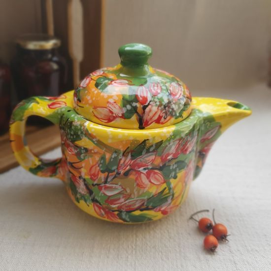 Hand painted ceramic teapot with peach blossom