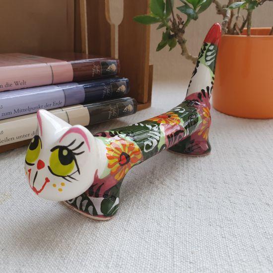 Originelle Katze- handbemalte Keramik, langer lustiger Kater mit Blumenmuster