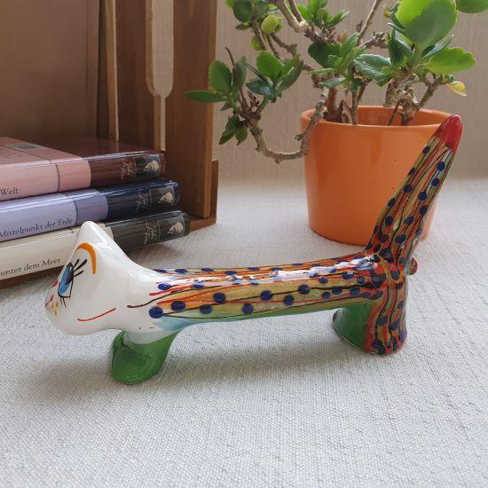 Long funny ceramic cat, original decoration