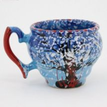 Han painted unique clay cup with winter nature