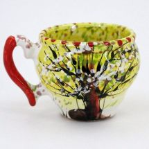 Hand painted original ceramic cup with spring nature