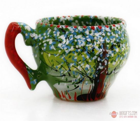 Hand painted original ceramic cup with summer nature