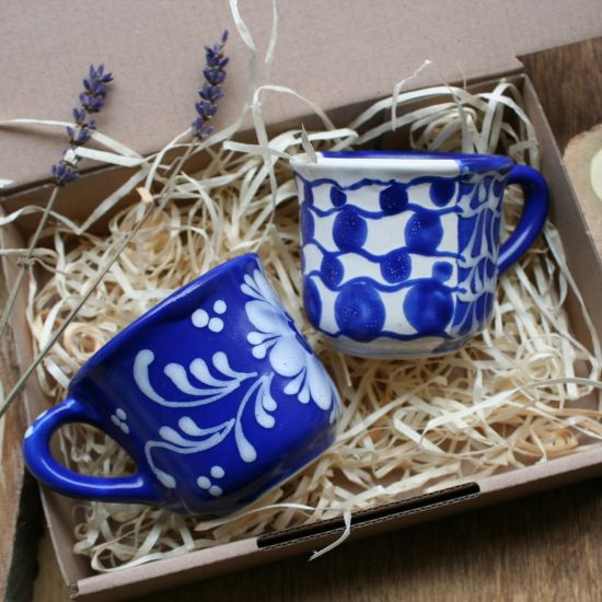 Espresso for two hand painted ceramic cups with blue pattern - Valentine's Day gift