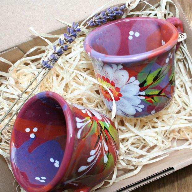 Kleine Tassen für Zwei- handbemalte Keramik mit Blumenmuster - Valentinstag Geschen