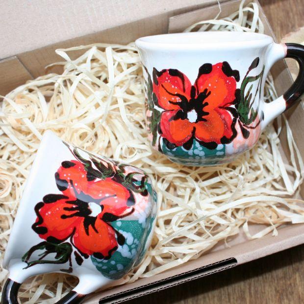 Kleine handgemachte Tassen für Kaffee- mit Blumenmuster - Valentinstag Geschenk