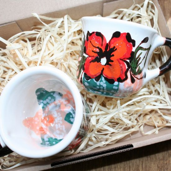 Hand painted Coffee cups for two, hand made ceramic with flower ornaments - Valentine's Day gift