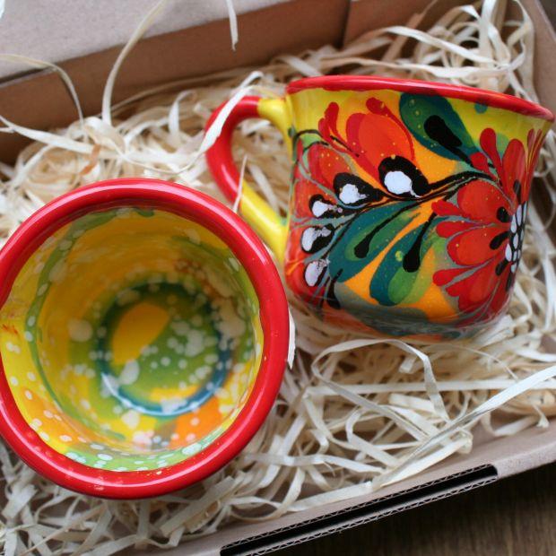 Bunte  Keramik Kaffee Tassen mit Blumenmuster -originell handbemalt