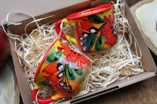 Hand painted Coffee ceramic cups set, ceramic with flowers ornament - Valentine's Day gift