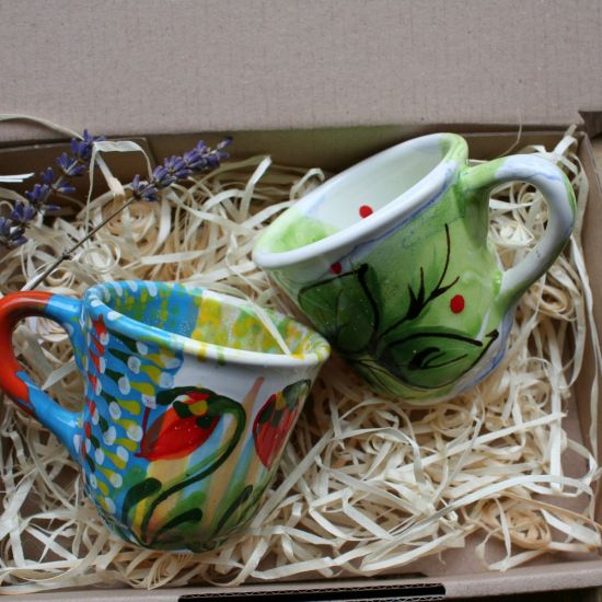 Beautiful set of coffee cups made of ceramic with a floral pattern - handmade gift