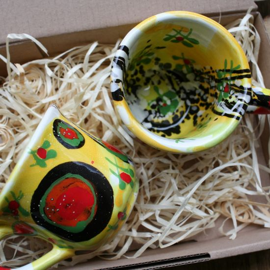 Originelle Kaffeetassen Set aus Ton von Hand bemalt