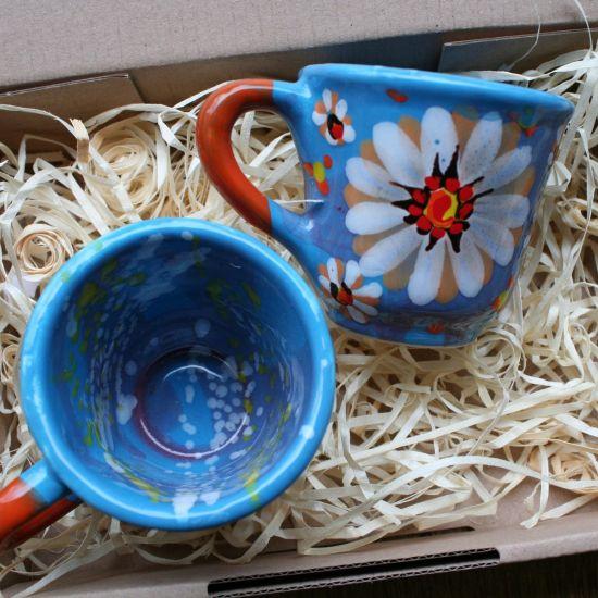 Handbemalte Kaffeetassen Set  mit  Blumenmuster  von Hand bemalt