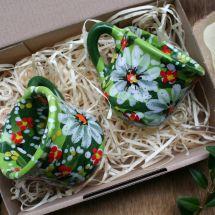 Kaffe für Zwei- handbemalte Tassen aus Keramik mit Blumenmuster - Valentinstag Geschenk