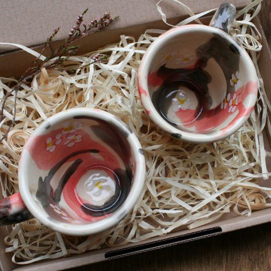 Kaffetassen für Zwei- handbemalte Keramik mit Blumenmuster - Valentinstag Geschenk