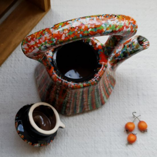 Fancy hand painted teapot abstract painted