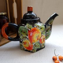 Hand painted teapot with apples
