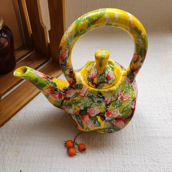 Exclusive ceramic teapot with peach blossom
