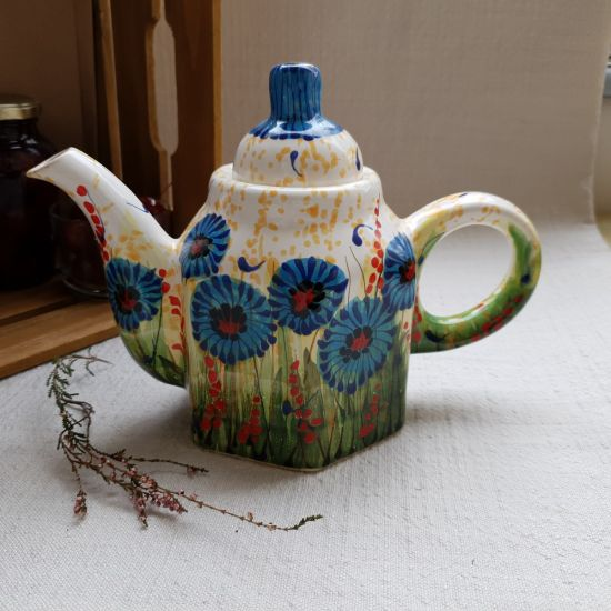 Hand painted teapot with cornflowers, ceramic
