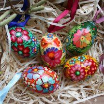 Hand painted small wooden easter eggs - 3.5 cm х pcs - ukrainian art of painting Petrykivka