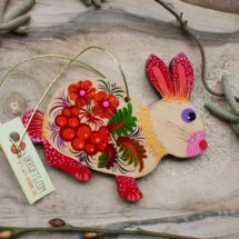 Easter bunny ornaments - tree wooden decorations