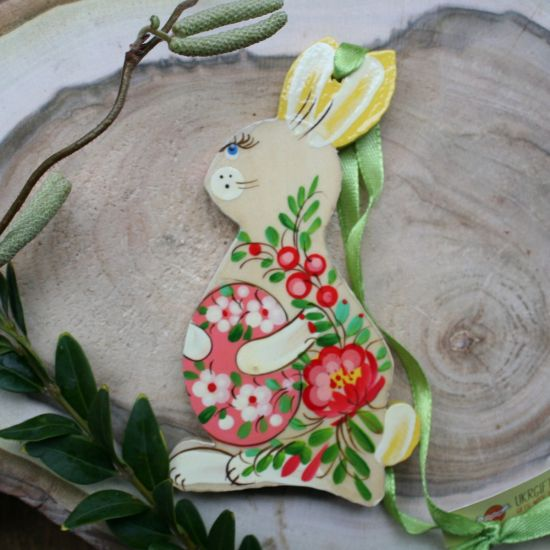 Wooden Easter pendant - funny Easter bunny - original Easter decorations with a flower pattern