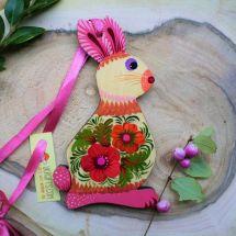 Hase Holz Deko -Origineller Osterhase aus Holz mit Blumenmuster