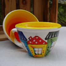 Hand painted ceramic cup - Old town design