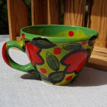 Hand painted ceramic cup with flowers - naive tulips design